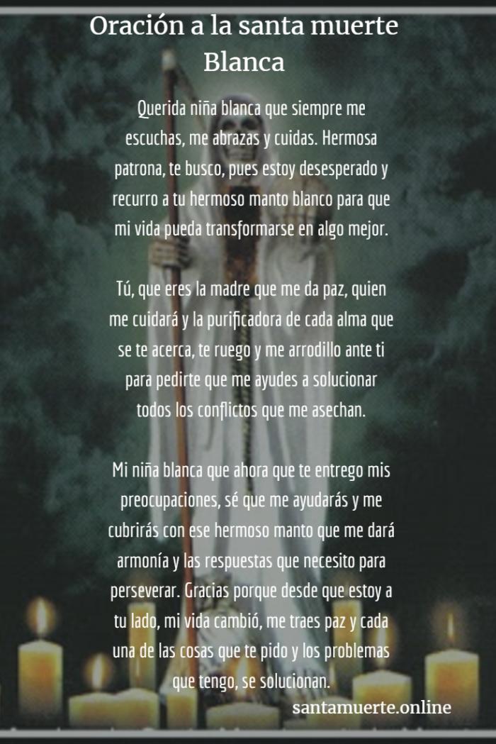 oración a la santa muerte blanca