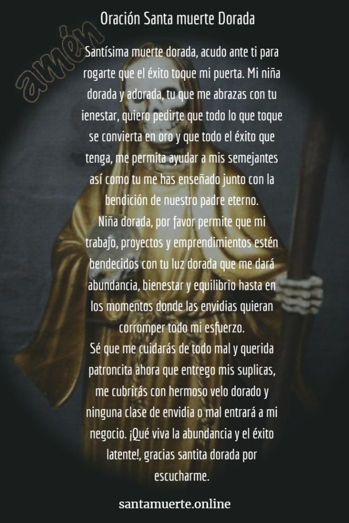oración a la santa muerte dorada