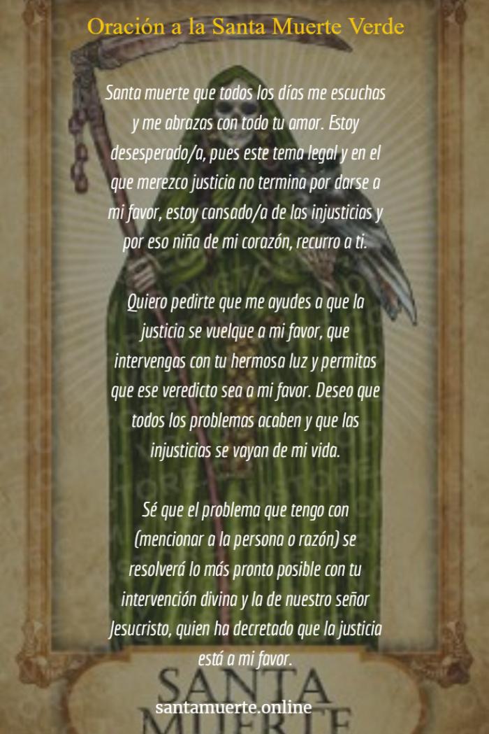 oración a la santa muerte verde