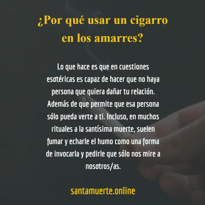 amarre del cigarro a la santa muerte